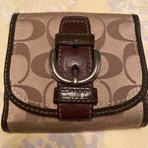 COACH Signature Canvas Wallet, Brown leather trim